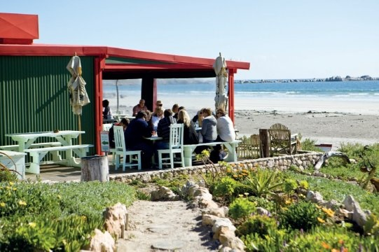 Voorstrandt Restaurant in Paternoster, the only red building in town. You can walk from the beach straight into the restaurant. Awesome seafood!