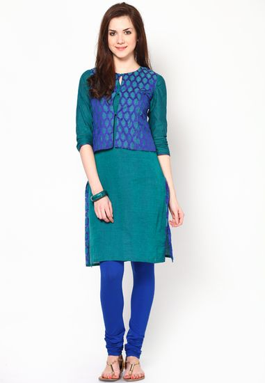 3 4th Sleeve Green Solid Kurti With Jacket Online Buy