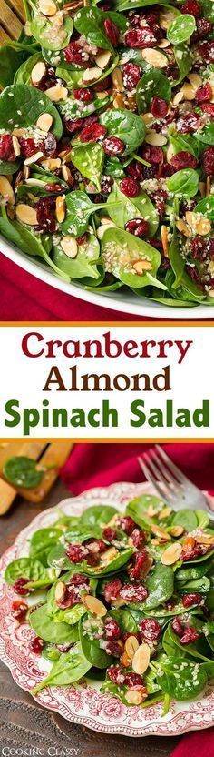 Cranberry Almond Spinach Salad with Sesame Seed Dressing - A delicious, simple and healthy salad!