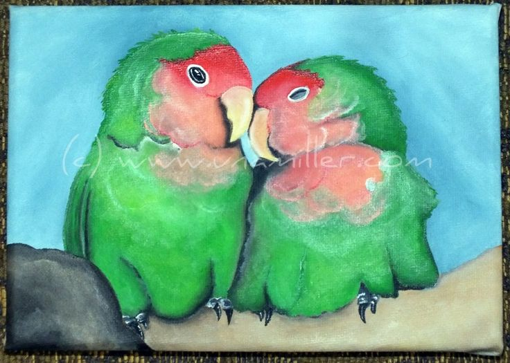 Peach Faced LoveBirds -great for Valentines Day   5 x 7 inch pre stretched canvas Ready to Hang Acrylic $50.00 +p&h
