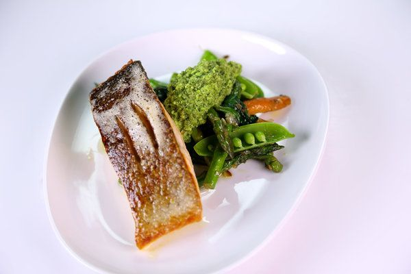 Pan-Seared Salmon with Spring Vegetables & Pea-Mint Pesto by Curtis Stone