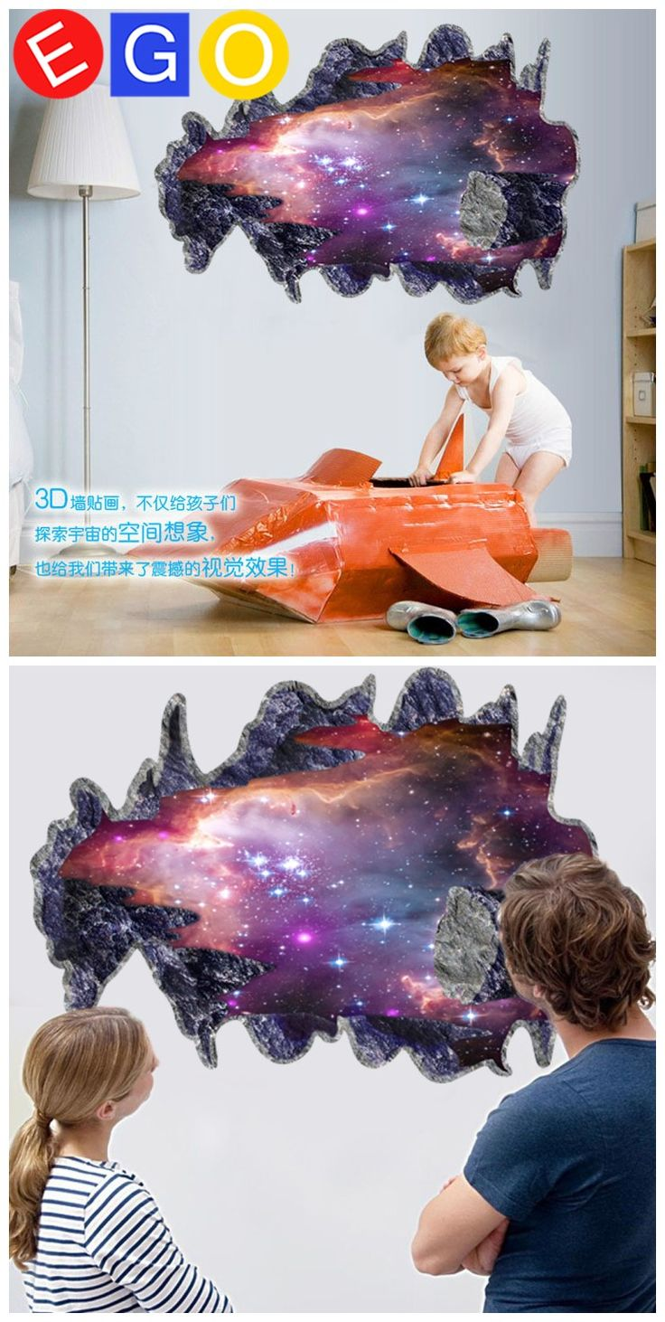 21 best 3d home decoration wall stickers bedroom living room study removable 3d space galaxy meteorite broken wall decorative wall sticker for kids room living room bedroom
