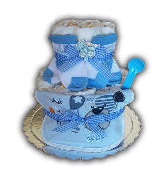 Ένα γαλάζιο μικρό thavmataki για έναν νεογέννητο μπέμπη. Περιέχει περίπου 20 πάνες εσωτερικά, μια βαμβακερή σαλιάρα, ένα ζευγάρι καλτσάκια και ένα βρεφικό κουταλάκι.  Τιμή 20€