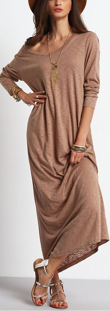 Slip into this apricot casual maxi dress to give you ultimate comfort while still being fashionable. Only $14.99. View more at Shein.com