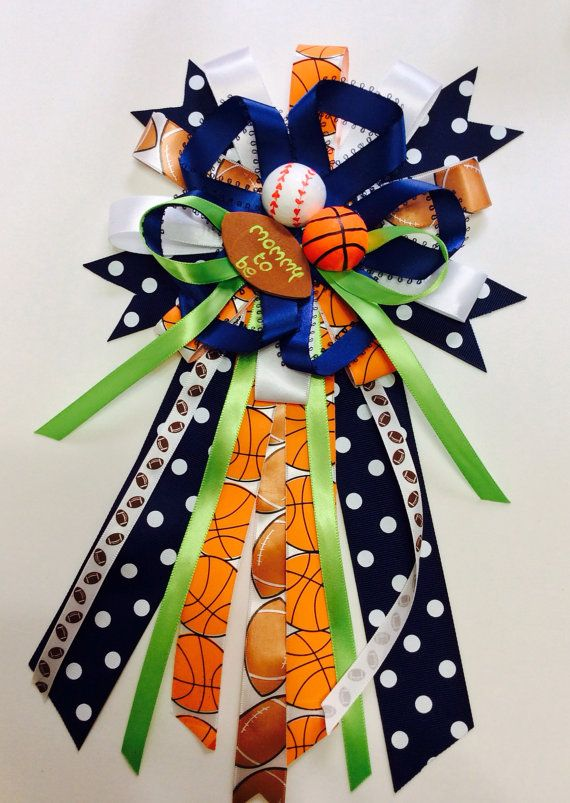 sports baby shower mommy to be bow by Marshmallowfavors on Etsy, $25.00