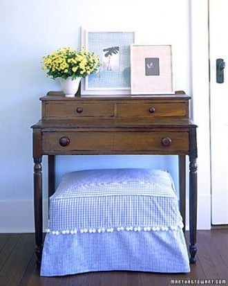 I love this for the corner by the window.  Maybe not so country.  Gingham Footstool Cover
