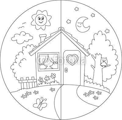 Scegli un fotomurale taverna, diurno, notte - casa di campagna giorno e notte da colorare per bambini.. I fotomurali PIXERS sono realizzati con magnifici materiali tipografici. Scegli tra le tante foto artistiche del nostro catalogo.