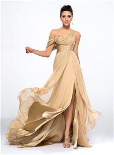 One-Shoulder Appliques Split-Front Long Prom Dress with Sleeveless