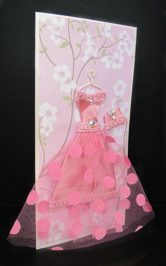 Cherry Personalized Dress Card / DL Size / Handmade by BSylvar
