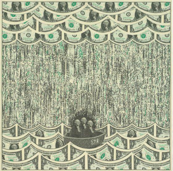 Mark Wagner - Collage realizzati con banconote da un dollaro