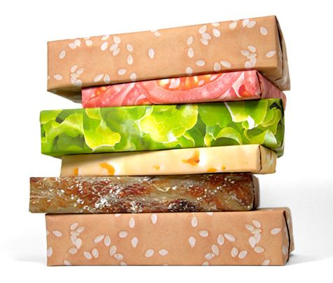 Gift Couture Wrapping.: Wrapping Papers, Hotdog, Hamburg Wraps, Gifts Wraps, Gifts Idea, Wraps Gifts, Wraps Paper, Wraps Idea, Cheeseburgers Wraps