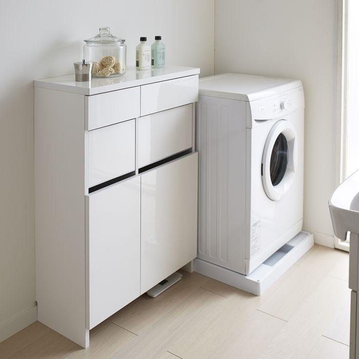 組立不要 洗濯カゴ付き2in1光沢サニタリー収納庫 ロータイプ 幅73cmの拡大写真1 通販 - ディノス