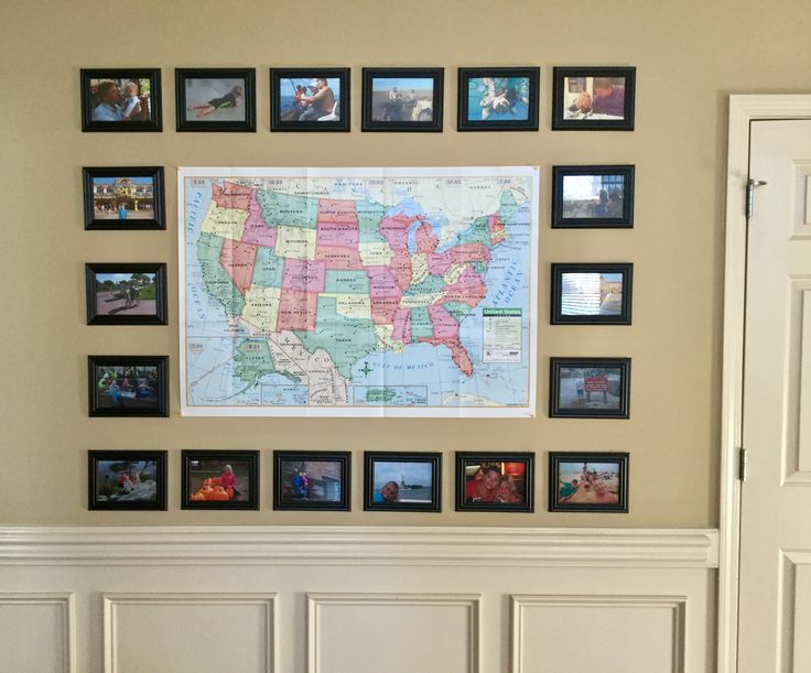 We had this big empty wall space in our house, so I put up a map and surrounded it with pictures from our travels.  The kids love telling their friends about going to Paris, Portugal, Egypt, the Caribbean etc.