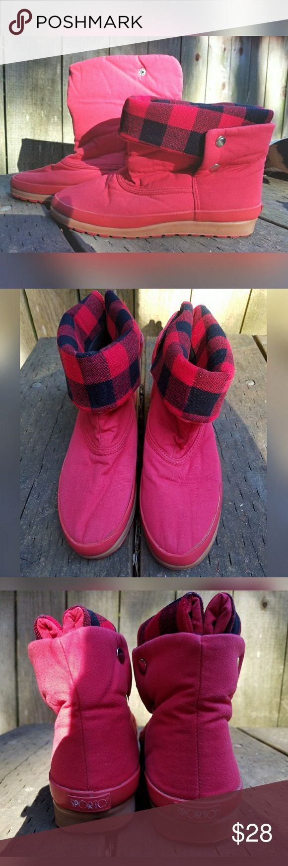 Sweet, VINTAGE, SPORTO boots!! Super cool. Can be worn up or folded down to reveal plaid lining. Brand is Sporto. No tags for size. Would fit Women's 7.5/8. Insoles are missing. Otherwise, in great condition. Vintage Shoes Winter & Rain Boots