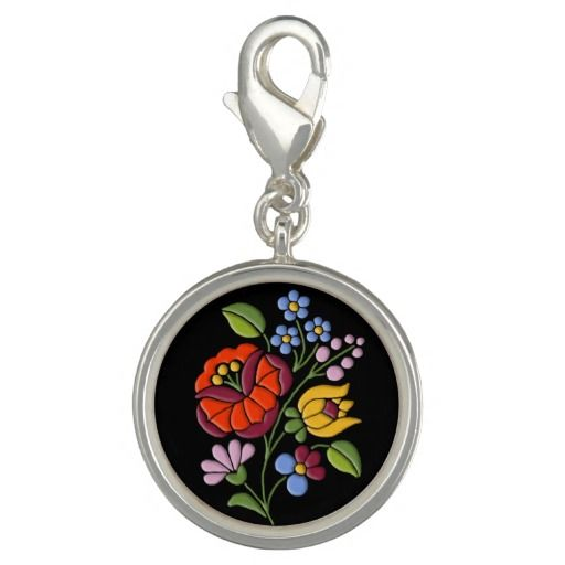 Kalocsa Embroidery - Hungarian Folk Art sterling silver plated clip on charm