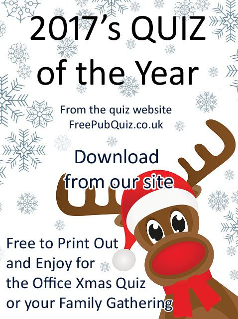 Quiz of the Year - questions and answers for a 2017 Quiz. Our Quiz of the Year, month by month, for 2017. By the website Free Pub Quiz.