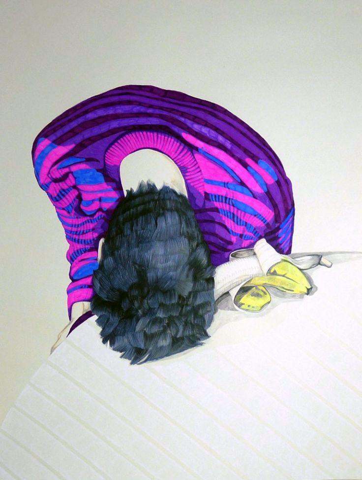 No more bananas.2013  50 x 70 cm (you and me and the cat )  Azucena González #vertigo #drawing #colors #art