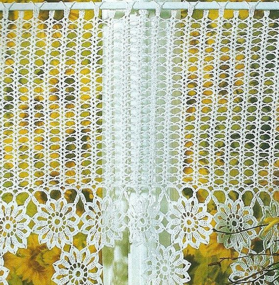 Crocheted Curtain  Flower Chain by LaisviakCrochet on Etsy, $53.00