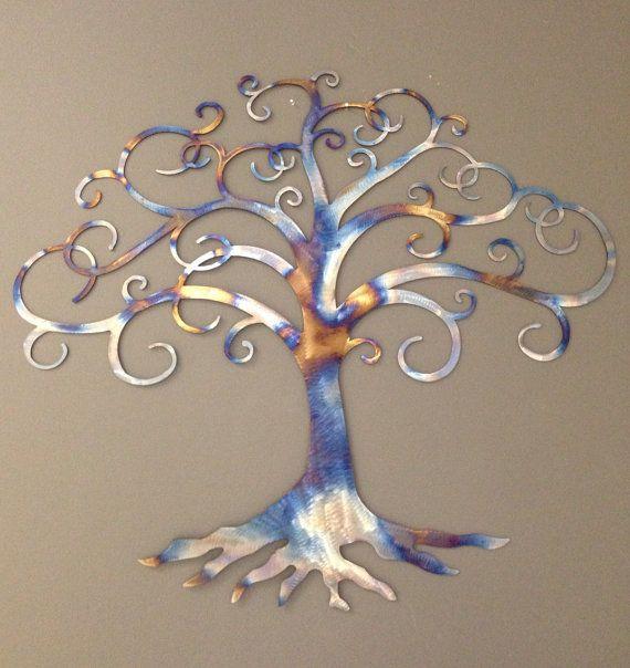 Tree of Life industrial metal wall art heat tinted by alkemymetal, $89.00
