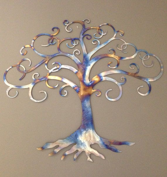 Tree of Life industrial metal wall art heat tinted by alkemymetal, $49.00