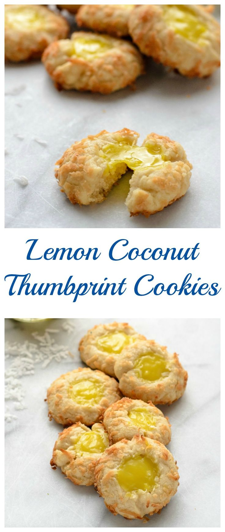Buttery Lemon Coconut Thumbprint Cookies. An spring version of classic jam thumbprints made with lemon curd.