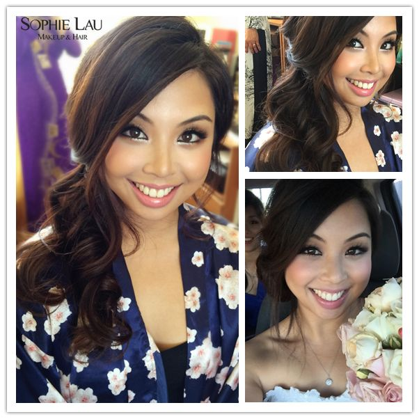 Her the big side bangs and the off to the side but down not in a bun look is awesome! Her make up is great, too!
