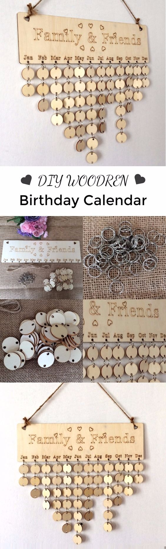 DIY Wooden Family And Friends Birthday Calendar Reminder Board