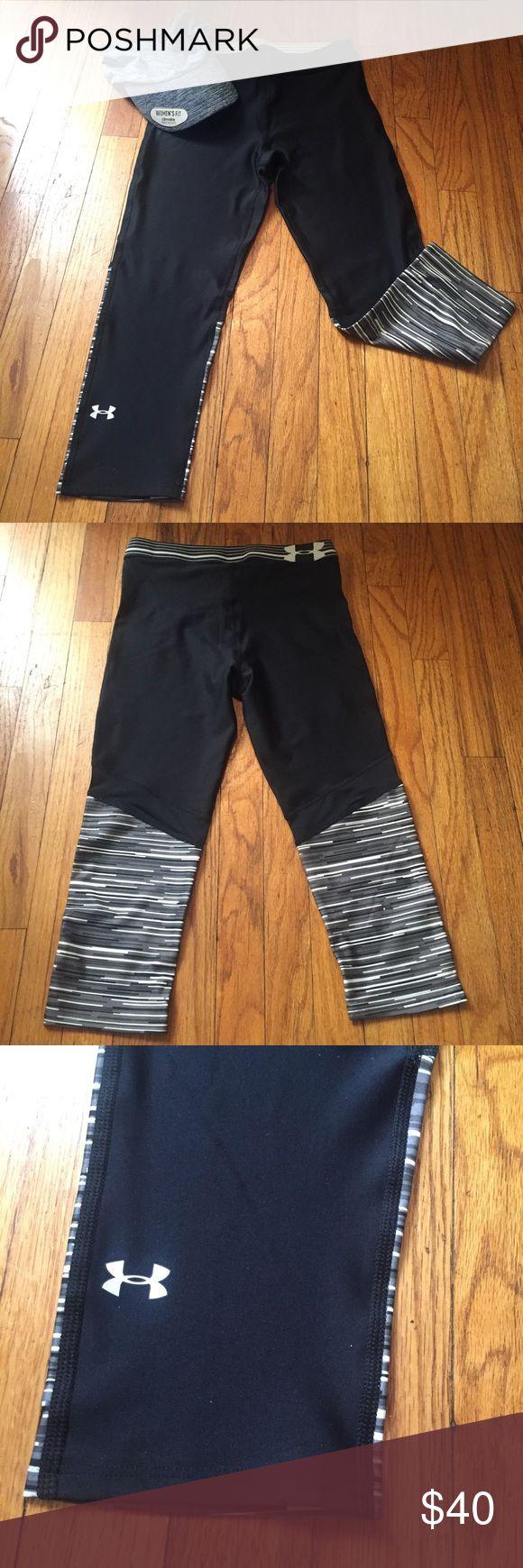 🆕 Under Armour Heatgear Capri Leggings New!  Anderson Armour Heatgear Compression FIT.  80% Polyester/ 20% Elastane Under Armour Pants