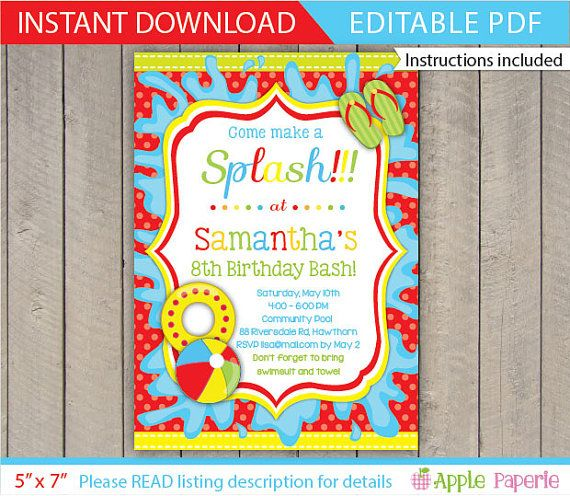 Pool Party Invitation / Kids Pool Party Invitation by ApplePaperie