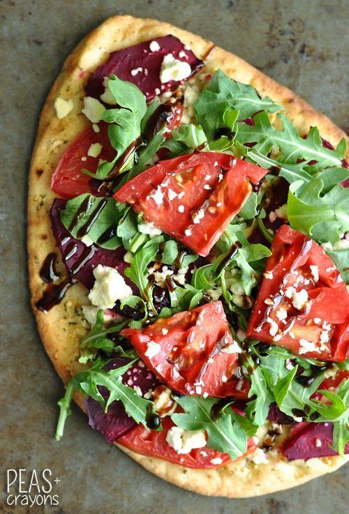 Beetza! Garlicky Flatbread Pizza with Beets, Balsamic and Feta