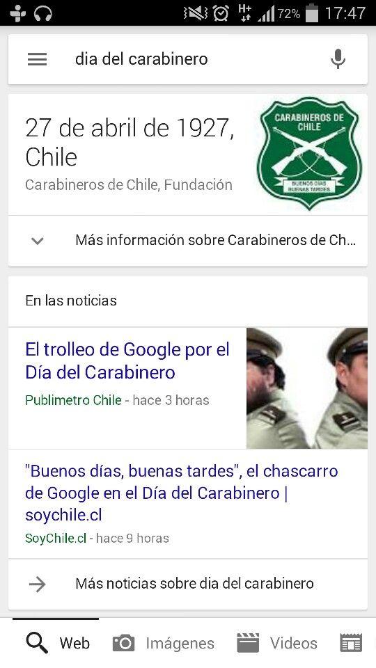 """#SóloEnChile Google cambiaría el lema de la institución de """"Orden y Patria"""" por """"Buenos días, buenas tardes"""""""