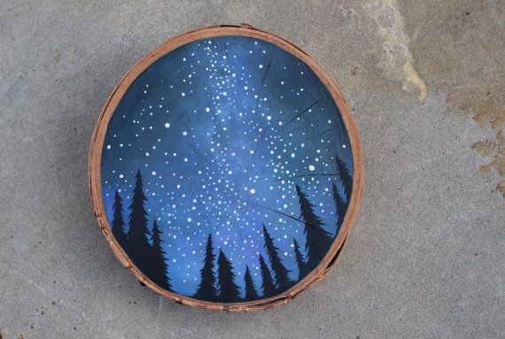 Original Acrylic Painting on Birch Wood Cut Starry by FierceFoxArt