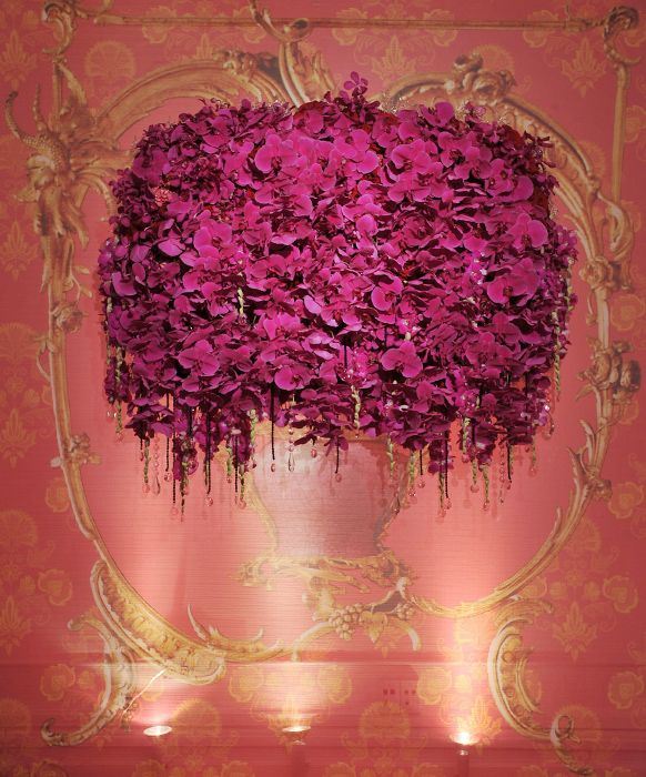 Romantic Wedding Reception Pink and Red Floral Walls | Inspirations