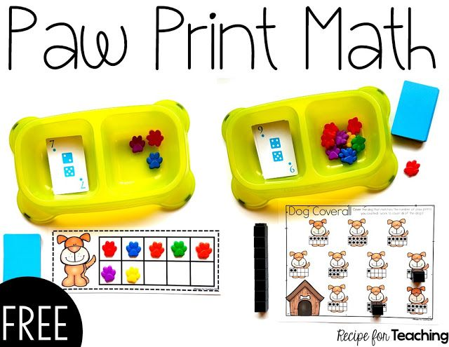 FREE Paw Print Math activities using resources from Oriental Trading!