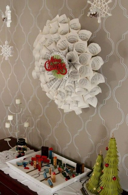 Make this extravagant looking wreath by rolling up music sheets and gluing together: Holiday, Christmas Decorations, Music Sheets, Christmas Idea, Heather Freeman