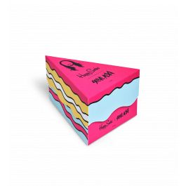 Have your cake and eat it with our exclusive Steve Aoki collab socks box set. This treat for your feet includes each of the three styles in our collab range: the Cake sock, By Any Means Necessary sock and the On Tour Forever sock. The whole package comes in a box shaped like a cake slice - luckily, this one is completely intact. The socks are available in unisex sizes and made from combed cotton for a comfortable feel.