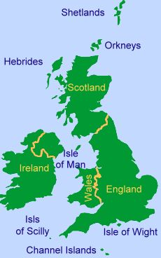 Map showing where the Isle of Man is.