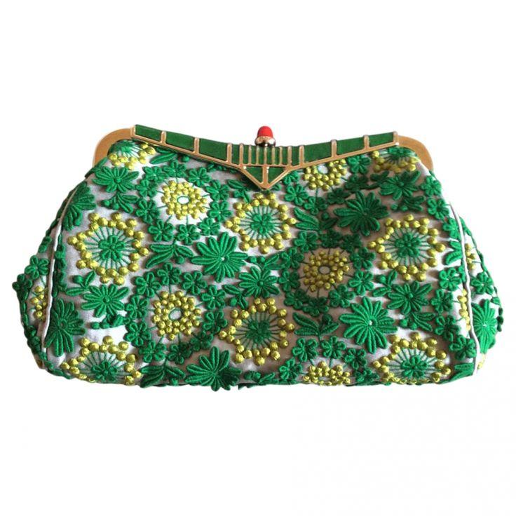 Green Silk Clutch bag