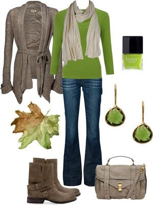 LOLO Moda: Fabulous women outfits 2013 Love the gray and green and check out the boots and bag!