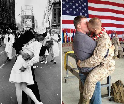 This photo, which shows Marine Brandon Morgan locked in a romantic embrace with his boyfriend was initially posted on the Facebook page 'Gay Marines,' where it was met with a great deal of enthusiasm.