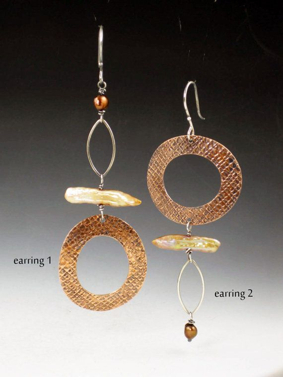 Single Copper Circle Earring with Pearls, asymmetrical, earring a day, EAD 2015, 48 & 49/365