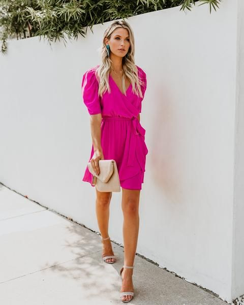 To The Max Wrap Dress Fuchsia Wrap Dress Dresses Fashion