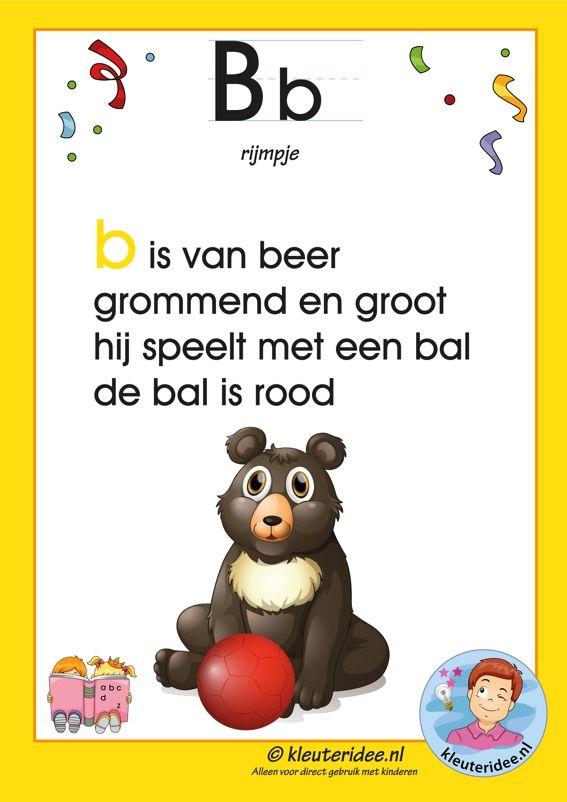 Pakket over de letter b blad 3, rijmpje,  letters aanbieden aan kleuters, kleuteridee.nl, free printable.