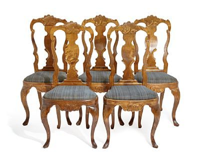 CHAIRS  Rococo style. 5 pcs. Bjerk. The seats upholstered in horsehair.  NUMBER 5