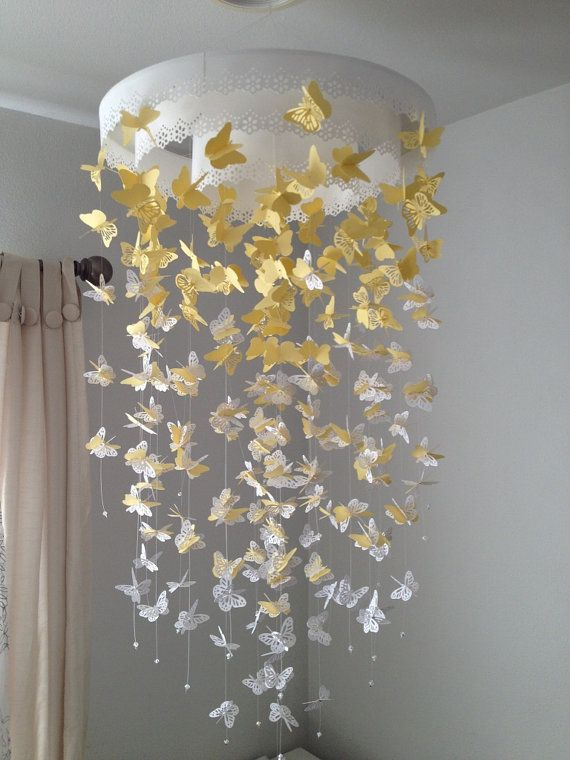 Paper Lace Chandelier Monarch Butterfly Mobile by DragonOnTheFly, $90.00