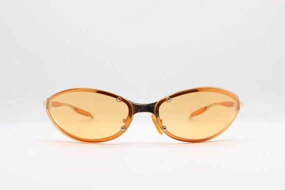 90s Style Rimless Sunglasses Blue//Yellow Retro 2000s Millenium Rave Shades Bono