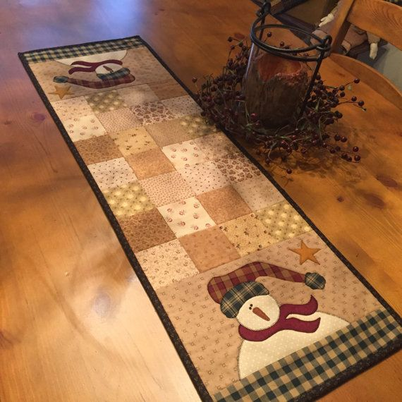 Snowman Table Runner / Holiday Table Runner / by QuiltedByVal
