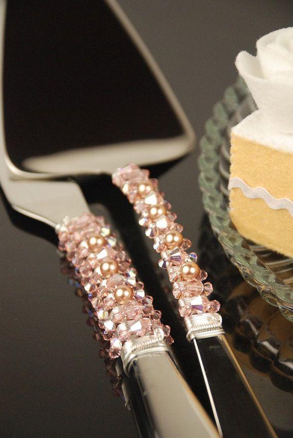 SWAROVSKI Champagne Blush Wedding Cake Server And Knife Set READY To SHIP