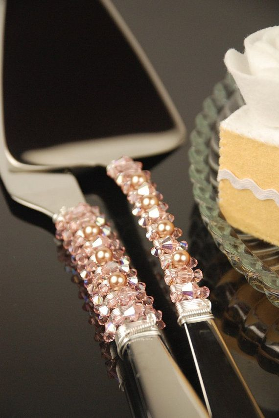 SWAROVSKI Champagne Blush Wedding Cake Server and Knife set- READY to SHIP