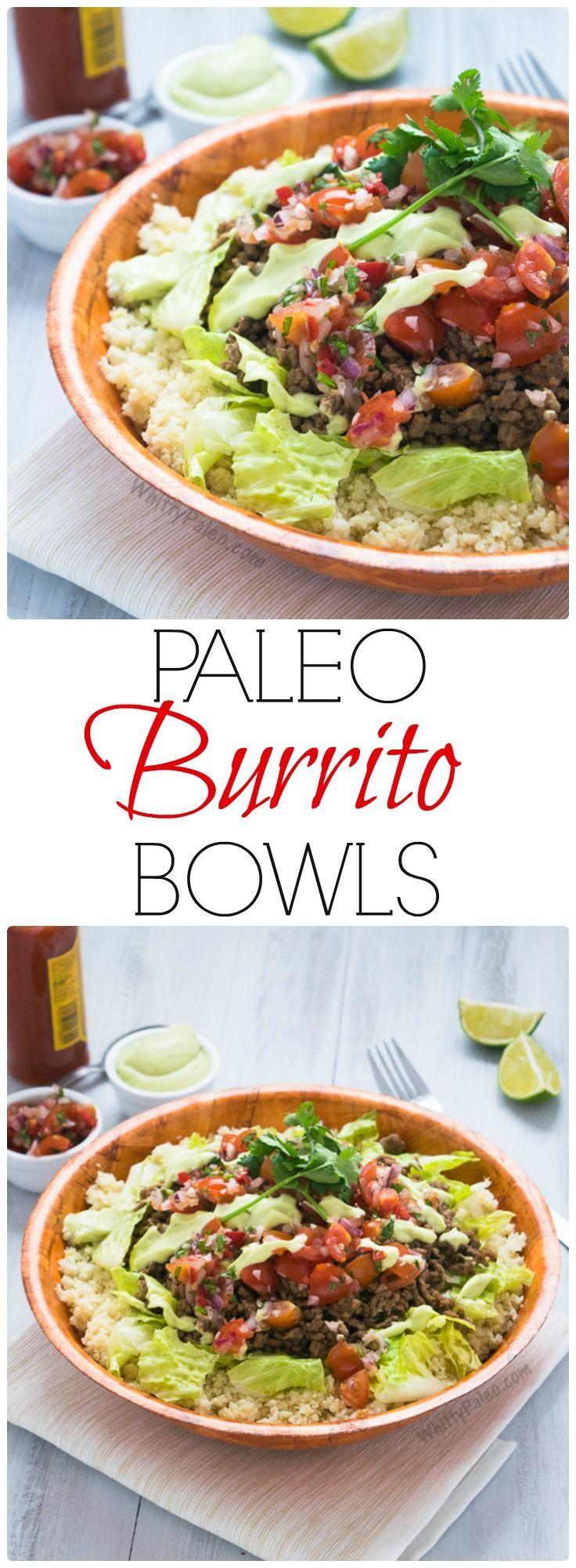 Paleo, Gluten Free & Dairy Free Easy Mexican Burrito Bowls from WhittyPaleo.com
